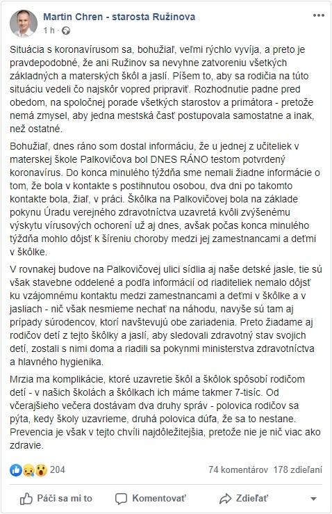 Martin Chren starosta - Facebook