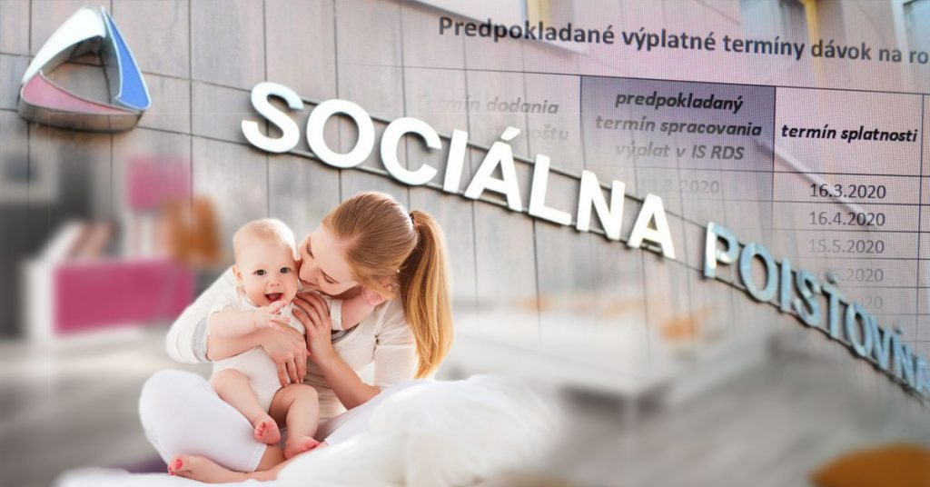 Sociálna poisťovňa vyplácanie materskej dávky 2020
