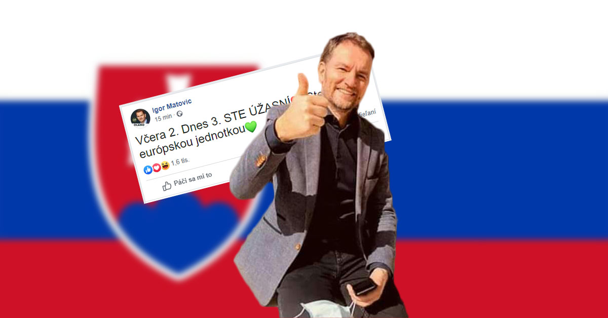 Premiér Igor Matovič odkazuje všetkým Slovákom na sociálnej sieti Facebook