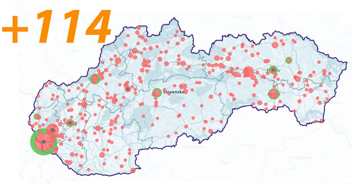 Online mapa Slovenska COVID-19