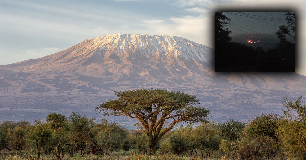 Kilimandžáro v Afrike v plameňoch
