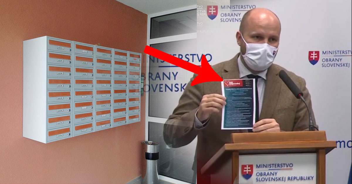 Minister obrany Jaroslav Naď upozorňuje na chybu v informačnom letáku