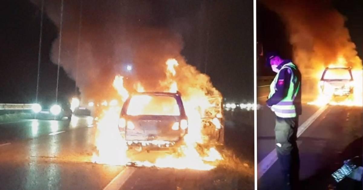 Mužovi zhorelo auto do tla