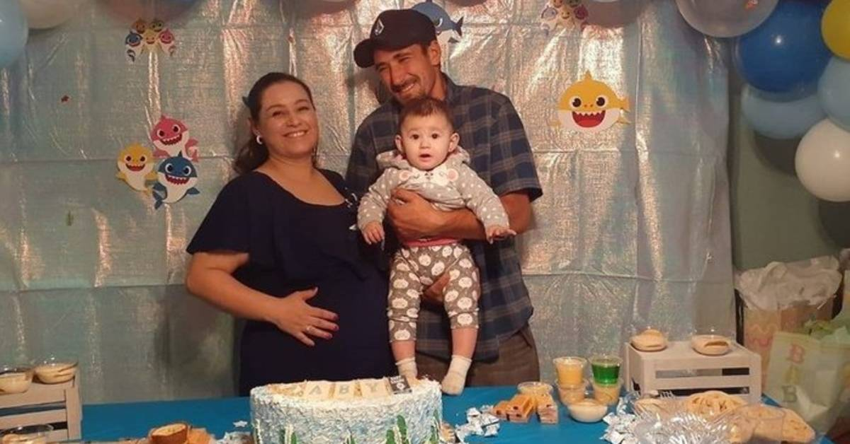Erika Becceraová s ročnou dcérou a manželom